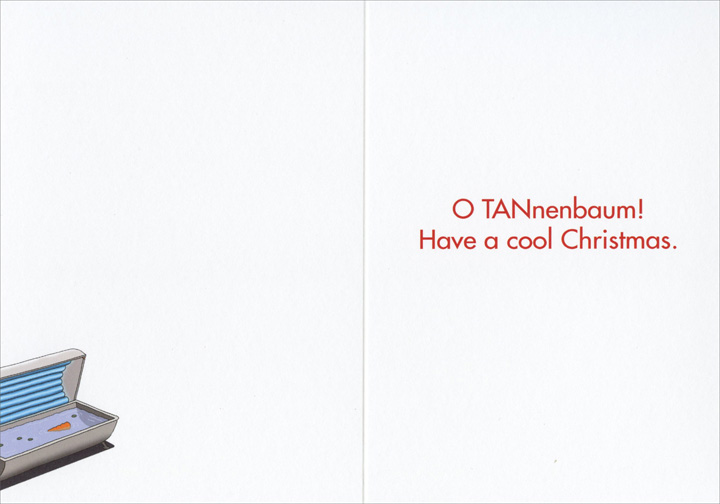 Snowman On Tanning Bed Christmas Card