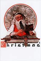 Saturday Evening Post: Santa Writing (1 card/1 envelope) Nobleworks Norman Rockwell Christmas Card