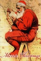 Saturday Evening Post: Santa's List (1 card/1 envelope) Nobleworks Norman Rockwell Christmas Card