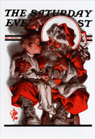 Saturday Evening Post: Boy on Santa's Lap (1 card/1 envelope) Nobleworks Norman Rockwell Christmas Card