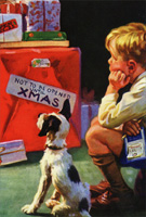 Boy and Dog Waiting for Xmas Norman Rockwell Christmas Card