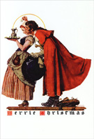 Man Kissing Woman Norman Rockwell Christmas Card
