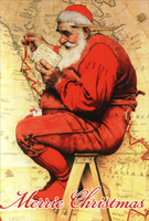 Santa Maps His Trip Norman Rockwell Box of 12 Christmas Cards