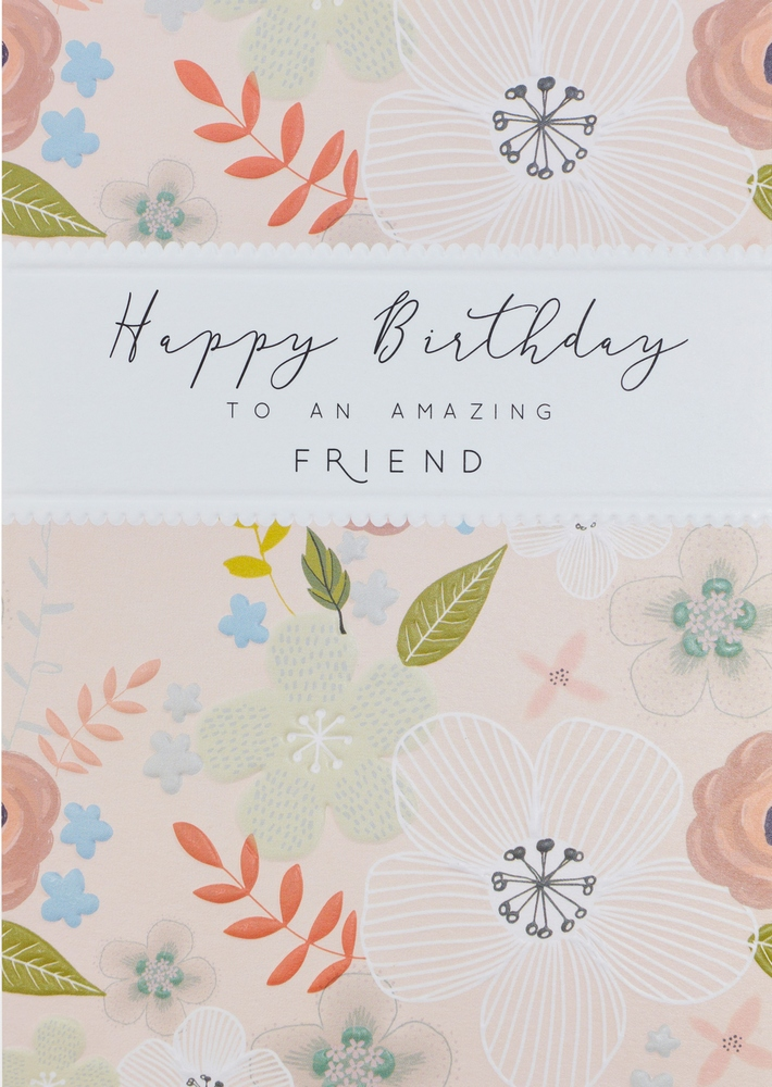 Flowers And Vines On Light Pink Embossed Birthday Card For Friend