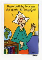 Speaks 4 Languages (1 card/1 envelope) - Birthday Card - FRONT: Happy Birthday to a guy who speaks 4 languages!  INSIDE: Football, baseball, basketball and golf!  Happy Birthday!