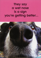 Wet Nose (1 card/1 envelope) - Get Well Card - FRONT: They say a wet nose is a sign you're getting better�  INSIDE: or else you've been drinking out of the toilet again! Feel better soon!