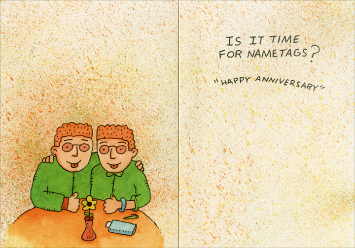 Twins Reading Menu (1 card/1 envelope) Oatmeal Studios Funny Anniversary Card - FRONT: They say the longer you're together the more you begin to look alike.  INSIDE: Is it time for nametags? �Happy Anniversary�