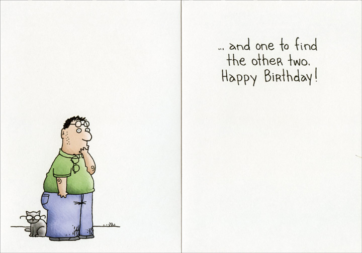 Man Looking Under Couch (1 card/1 envelope) Oatmeal Studios Funny Birthday Card - FRONT: We're at the age where we need one pair of glasses for reading and one for driving�  INSIDE: �and one to find the other two. Happy Birthday!