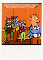 Gas Masks in Elevator (1 card/1 envelope) Oatmeal Studios Funny Birthday Card