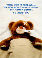 Teddy Bear Temperature (1 card/1 envelope) Oatmeal Studios Funny Get Well Card