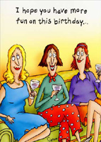 Women on Couch (1 card/1 envelope) Oatmeal Studios Funny Birthday Card