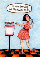 Candles are Lit (1 card/1 envelope) Oatmeal Studios Funny Birthday Card