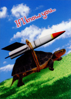 Turtle with Rocket (1 card/1 envelope) Oatmeal Studios Funny Get Well Card