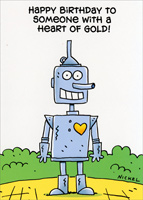 Tin Man Gold Heart (1 card/1 envelope) Oatmeal Studios Funny Birthday Card