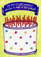 Decision on Birthday (1 card/1 envelope) Oatmeal Studios Funny Birthday Card