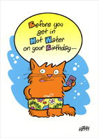 Cat In Swimsuit (1 card/1 envelope) Oatmeal Studios Funny Birthday Card