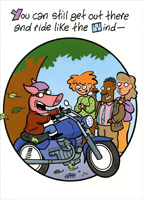 Pig On Motorcycle (1 card/1 envelope) Oatmeal Studios Funny Masculine Birthday Card