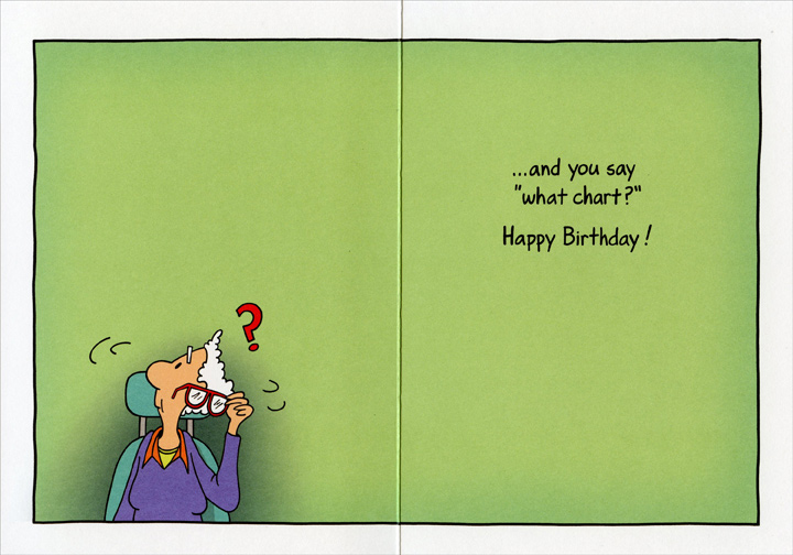 Woman At Eye Doctor Funny Birthday Card Greeting Card By Oatmeal