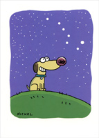Dog Looking At Constellation (1 card/1 envelope) Oatmeal Studios Funny Thank You Card