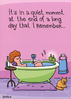 Woman Relaxing In Tub: Belated (1 card/1 envelope) Oatmeal Studios Funny Birthday Card