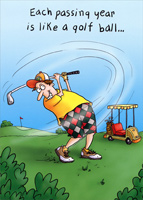 Man Golfing (1 card/1 envelope) Oatmeal Studios Funny Masculine Birthday Card
