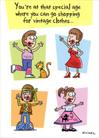 Shopping For Vintage Clothes (1 card/1 envelope) Oatmeal Studios Funny Feminine Birthday Card