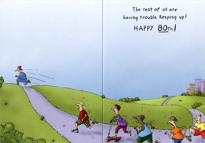 Stretching Jogger Funny 80th Birthday Card By Oatmeal Studios