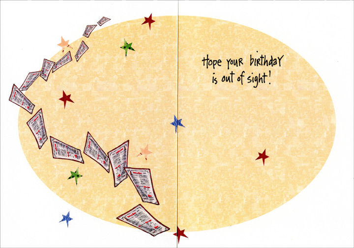 Reading Glasses Stage of Life (1 card/1 envelope) - Birthday Card - FRONT: The You've-Reached-The-Reading-Glasses-Stage-Of-Life Realization.  Can you tell me about this Chiden Farmusion?  I've never heard of it.  INSIDE: Hope your birthday is out of sight!