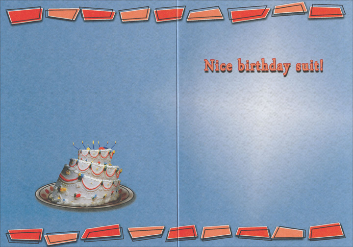 Woman Wearing Cake Costume (1 card/1 envelope) - Birthday Card - FRONT: HAPPY BIRTHDAY  INSIDE: Nice birthday suit!