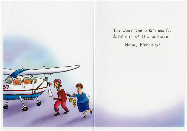 Women Making Pact (1 card/1 envelope) Oatmeal Studios Funny Birthday Card - FRONT: On your birthday, let's make a pact to do something really outrageous�  INSIDE: You wear the bikini and I'll jump out of the airplane! Happy Birthday!