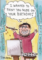 Birthday Painting (1 card/1 envelope) Oatmeal Studios Funny Birthday Card