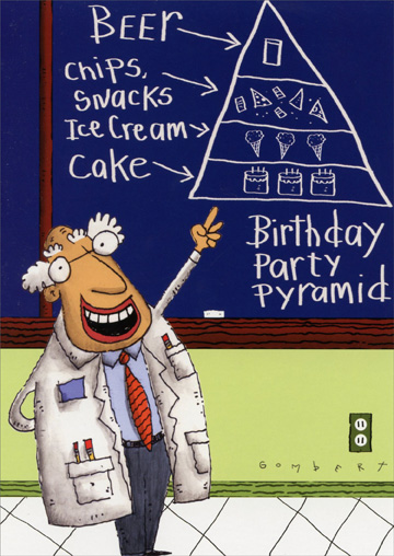 Birthday Party Pyramid (1 card/1 envelope) Oatmeal Studios Funny Birthday Card - FRONT: Beer - Chips, Snacks - Ice Cream - Cake - Birthday Party Pyramid  INSIDE: Have a well-balanced Birthday celebration! Happy Birthday!