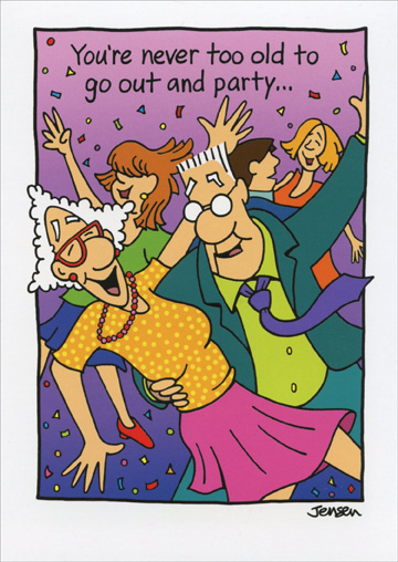 elderly couple dancing  card/ envelope oatmeal studios funny, Birthday card