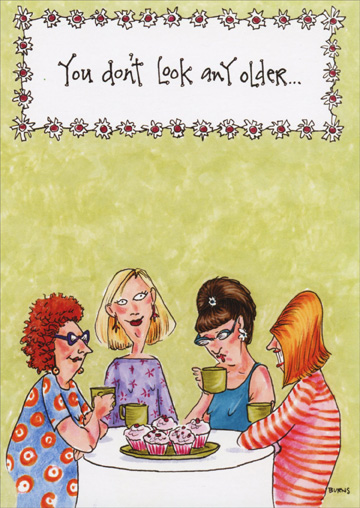 Women At Table Of Cupcakes Funny Humorous Birthday Card By Oatmeal
