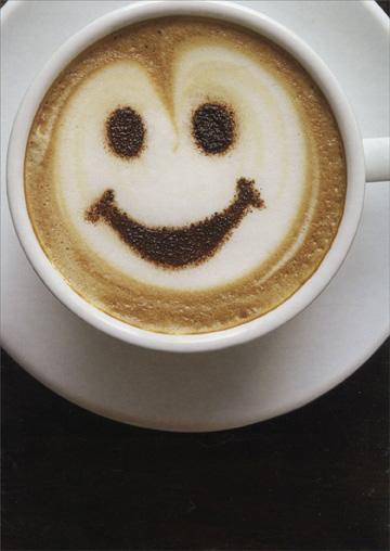 Smiley Face Latte (1 card/1 envelope) Oatmeal Studios Funny Get Well Card  INSIDE: I can think of a Latte good reasons for you to feel better!