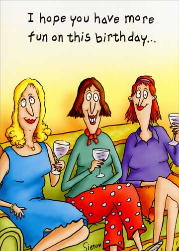 Women on Couch Funny Birthday Card - Greeting Card by ...