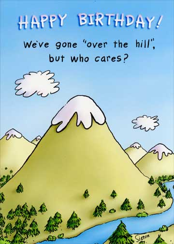 Gone Over Hill Funny Birthday Card Greeting Card By Oatmeal