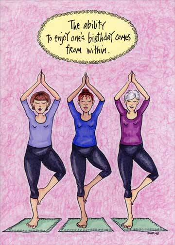Posing yoga women funny birthday card greeting card by oatmeal store categories bookmarktalkfo Gallery
