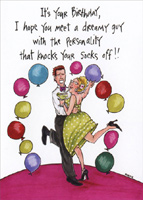 Knock Your Socks Off (1 card/1 envelope) Oatmeal Studios Funny Birthday Card