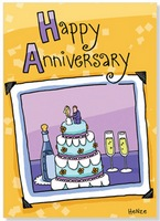 Photo of Anniversary Cake (1 card/1 envelope) Oatmeal Studios Anniversary Card