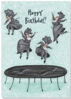 Nun Jumping on Trampolene (1 card/1 envelope) Oatmeal Studios Funny Birthday Card