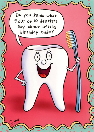 Tooth Holding Toothbrush Funny Birthday Card By Oatmeal Studios