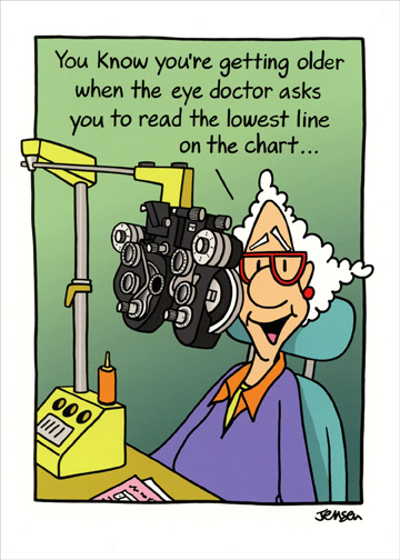 Woman At Eye Doctor Funny Birthday Card by Oatmeal Studios