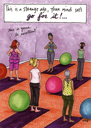 Yoga class funny feminine birthday card by oatmeal studios yoga class funny feminine birthday card bookmarktalkfo Image collections