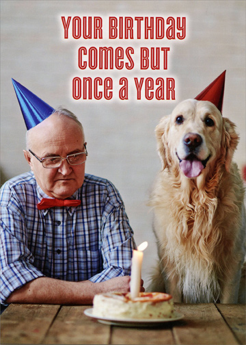 Man And Dog With Birthday Cake Funny Masculine Birthday Card By
