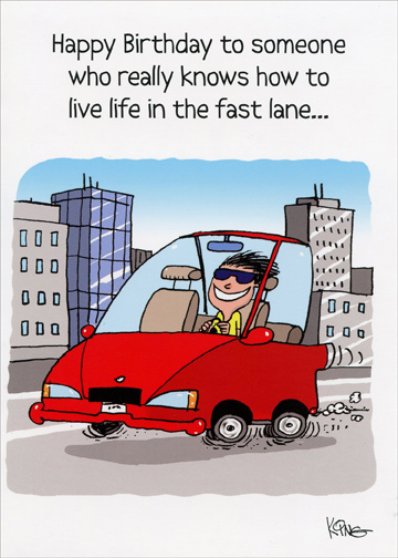 Live In The Fast Lane Oatmeal Studios Funny Birthday Card For Him