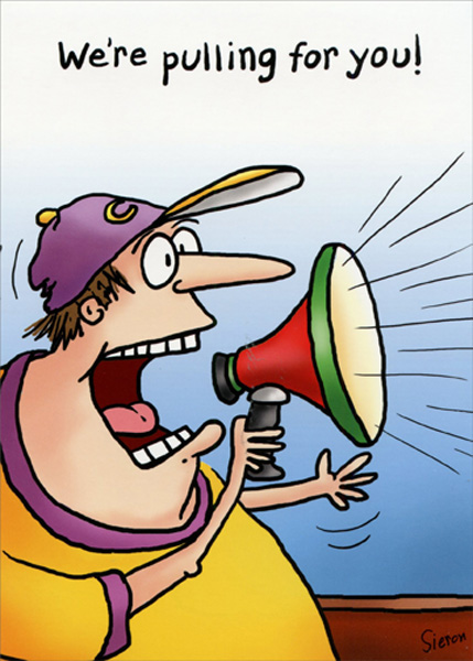 Guy With Megaphone Funny Get Well Card Greeting Card By Oatmeal