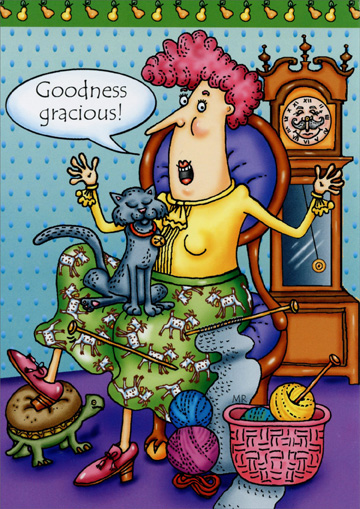Goodness Gracious (1 card/1 envelope) Oatmeal Studios Funny Birthday Card - FRONT: Goodness gracious!  INSIDE: You're getting antiquacious!  Happy Birthday!