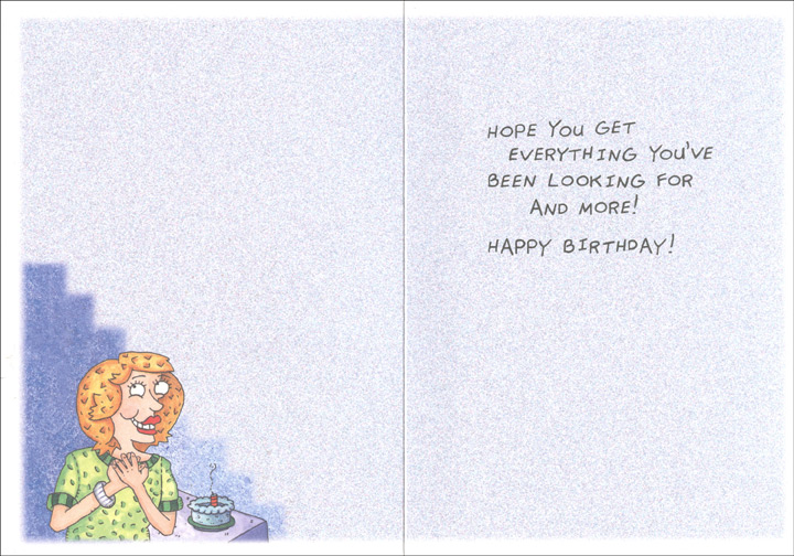 Woman Finds Keys & Glasses (1 card/1 envelope) Oatmeal Studios Funny Birthday Card - FRONT: My keys!!!  My glasses!  How did you know?!  INSIDE: Hope you get everything you've been looking for and more!  Happy Birthday!