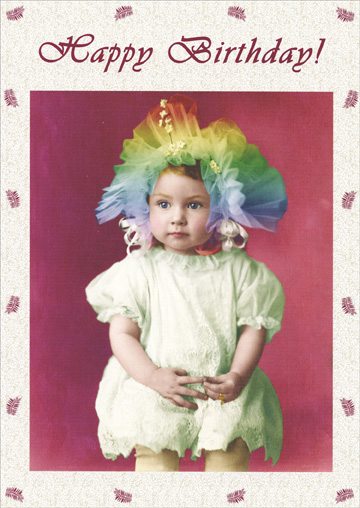 Toddler with Flair for Fashion (1 card/1 envelope) Oatmeal Studios Funny Birthday Card - FRONT: Happy Birthday!  INSIDE: You've always had a flair for fashion.